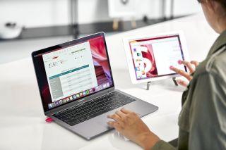 Woman using iPad as second monitor