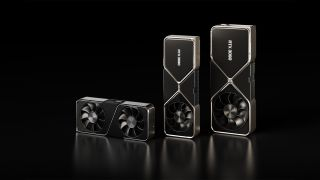 Nvidia RTX 3070, RTX 3080, And RTX 3090 Lined Up In A Promotional Image From Nvidia
