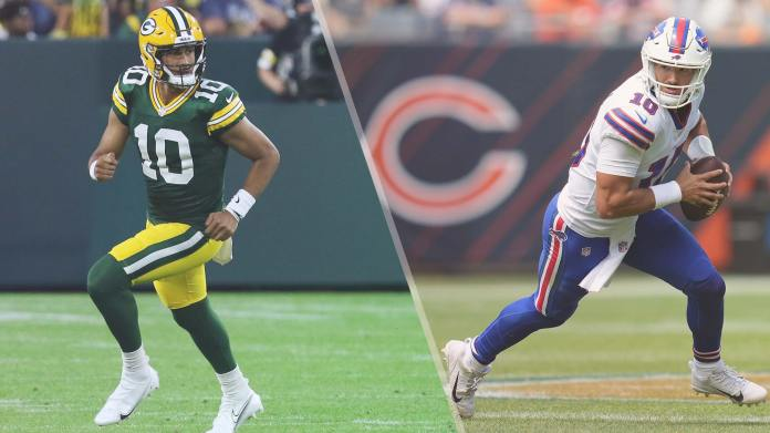 Jordan Love of Green Bay Packers and Mitch Trubisky of Buffalo Bills