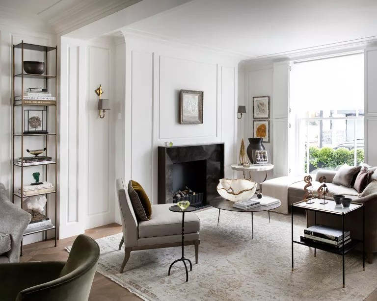Living room shelving with freestanding unit and white walls