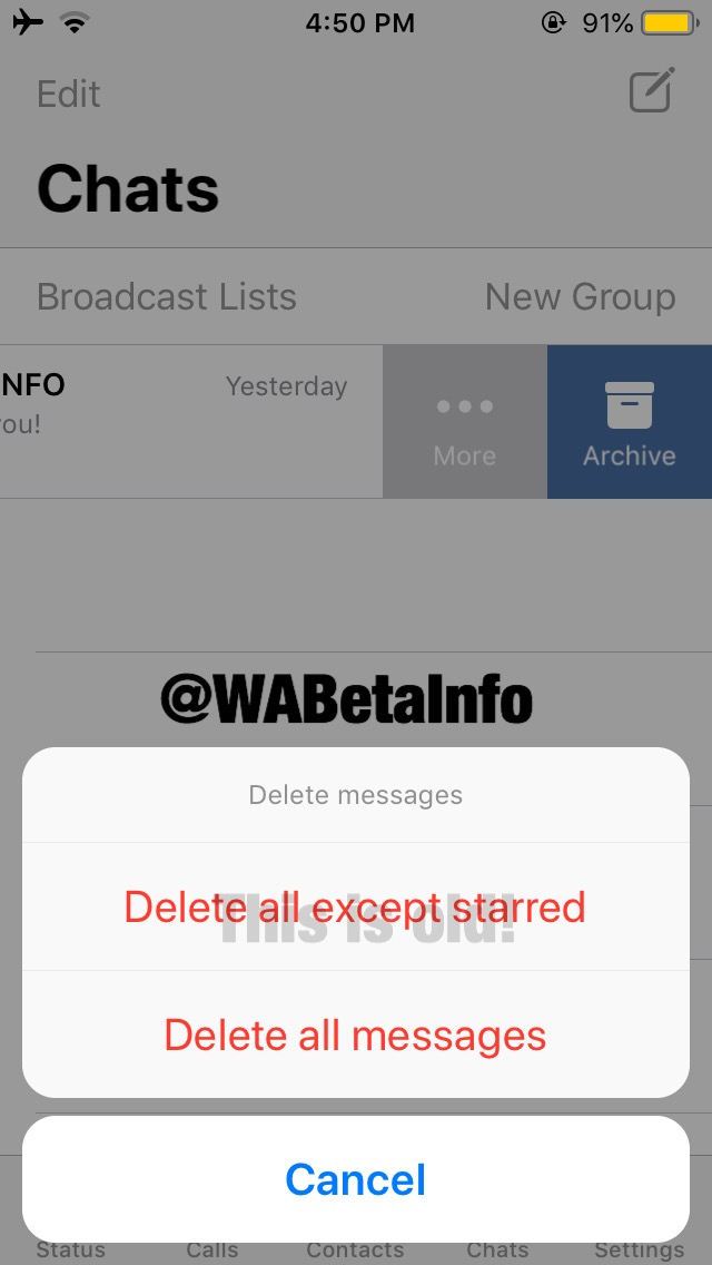 Whatsapp Delete all but Starred Messages