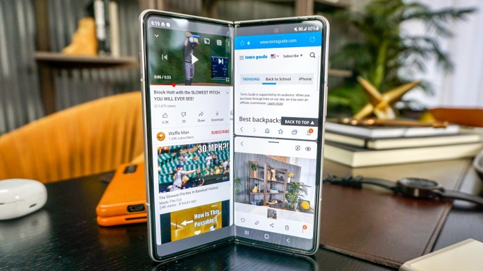 Samsung Galaxy Z Fold 3 standing on a table