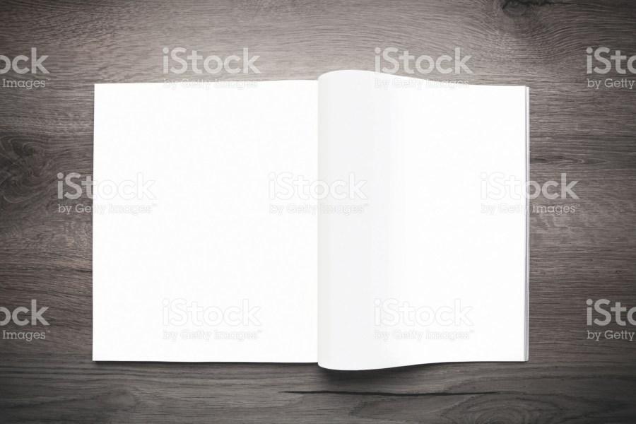 Blank open publication showing spread