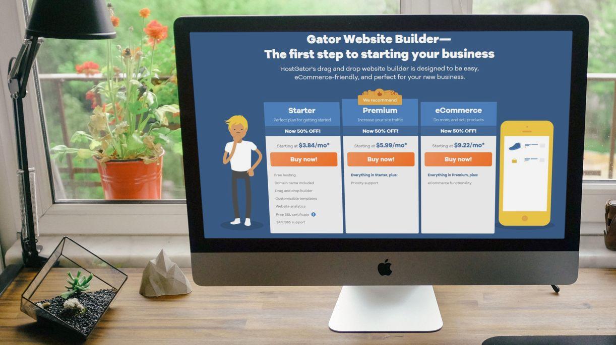An iMac displaying Gator Website Builder