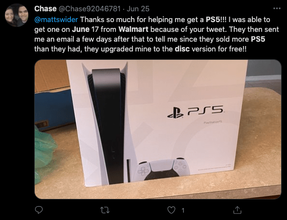 PS5 restock Twitter confirmation of PS5 Disc at Walmart