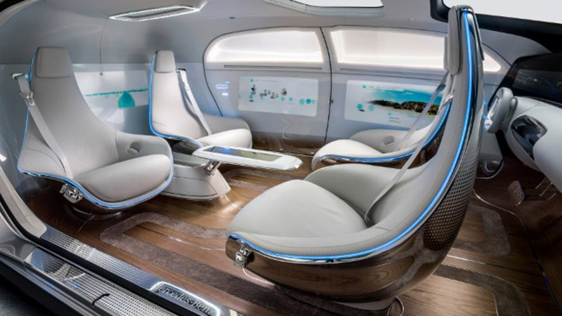 The cabin of a driverless car