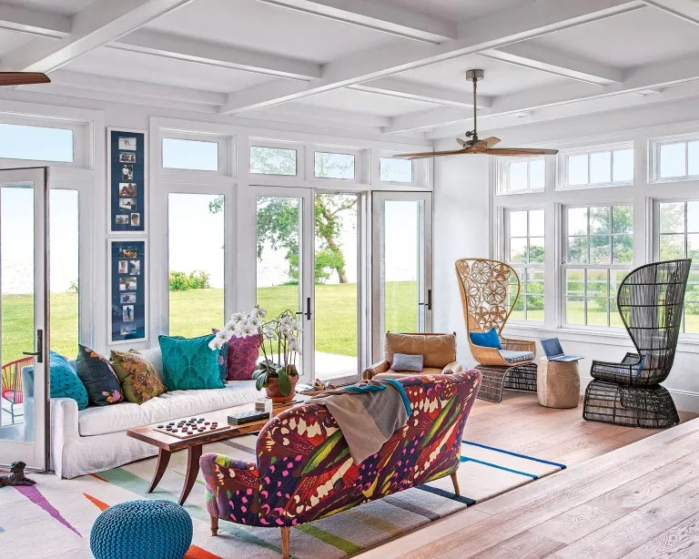 Bohemian living room ideas with colorful furniture