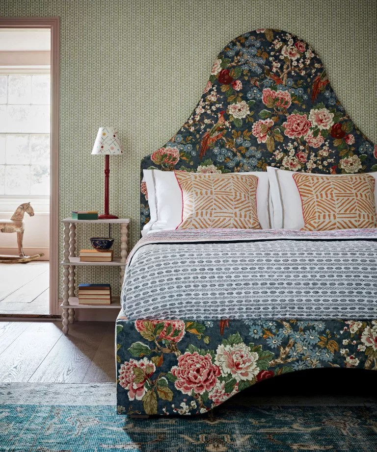 Bedroom ideas: an oversize floral fabric upholstered bed