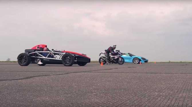 McLaren 720S Spider vs BMW S1000RR vs Ariel Atom 4 Drag Race