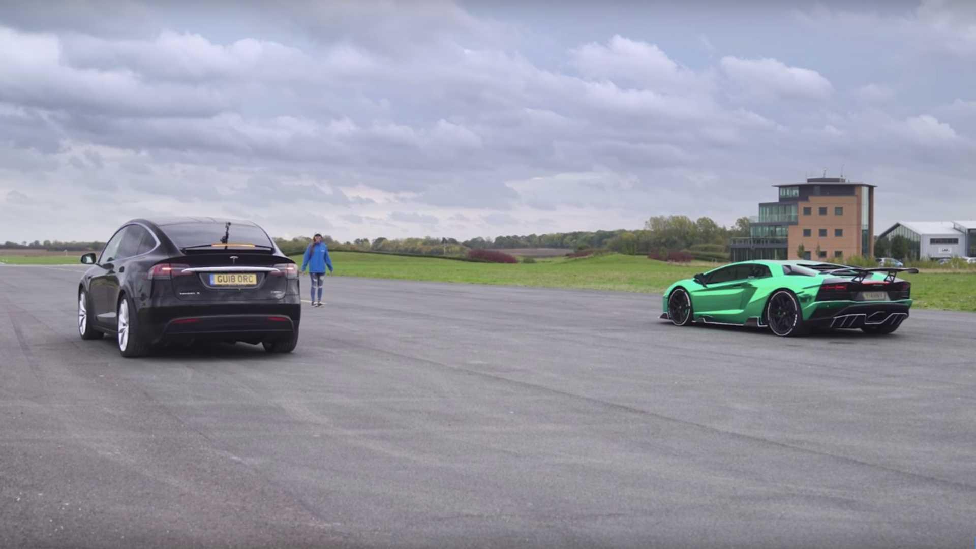 Can Tesla Model X Beat Lamborghini Aventador S On A Drag Strip