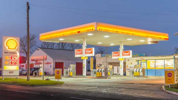Shell filling station in Bedford England