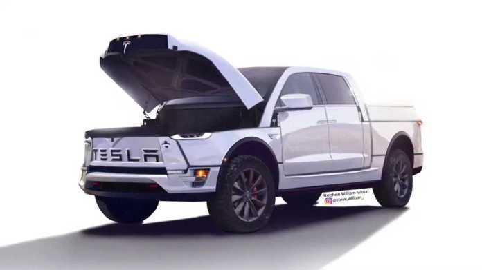 Tesla Electric Pickup Truck Ram Look-Alike Render Surfaces On Video