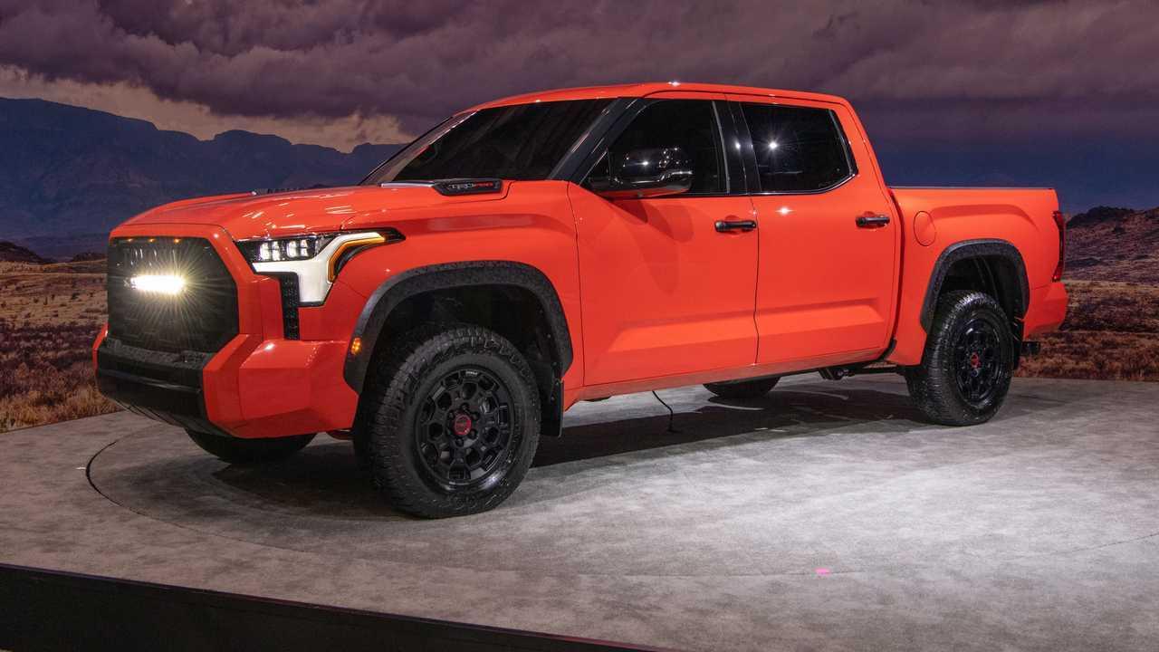 Toyota Tundra TRD Pro exterior quarter front 2022