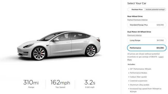 Tesla Model 3 prices in U.S. - August 17, 2019