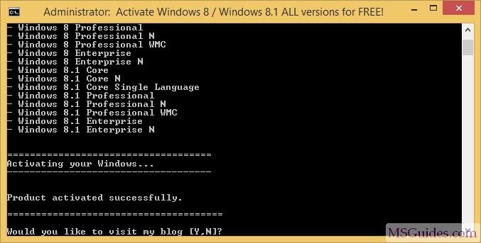 Product Key Windows 8