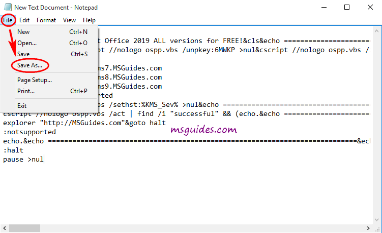 copy code into the text file