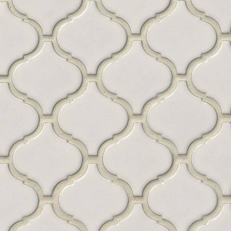 bianco arabesque tile backsplash