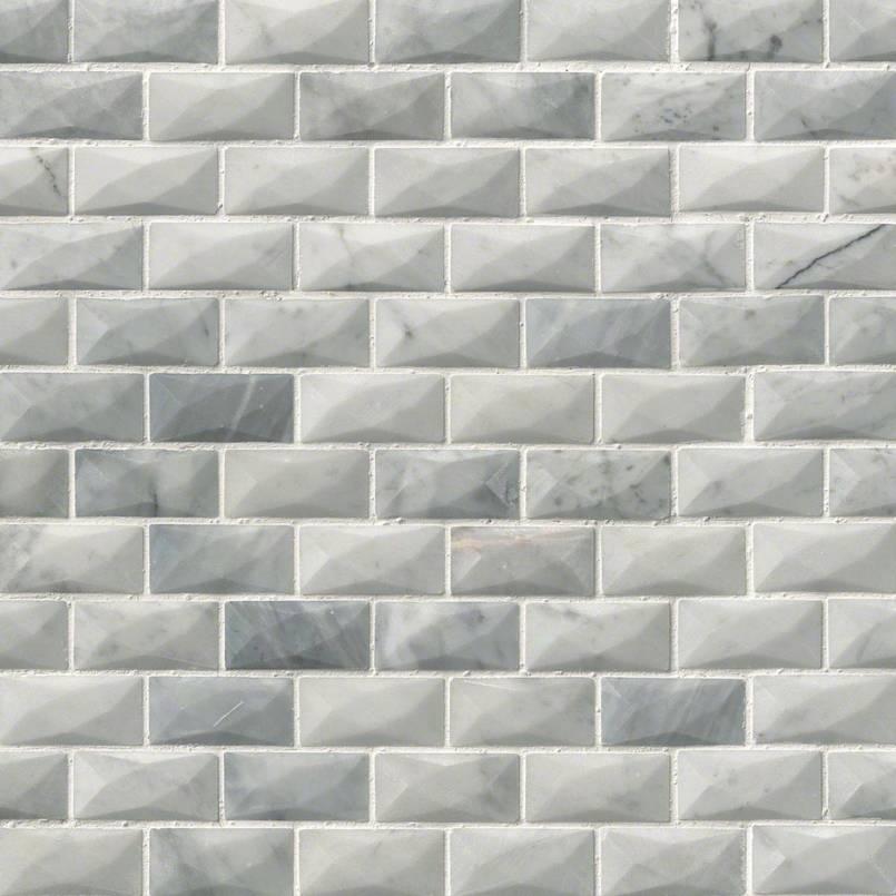 carrara white 1x2 3d polished