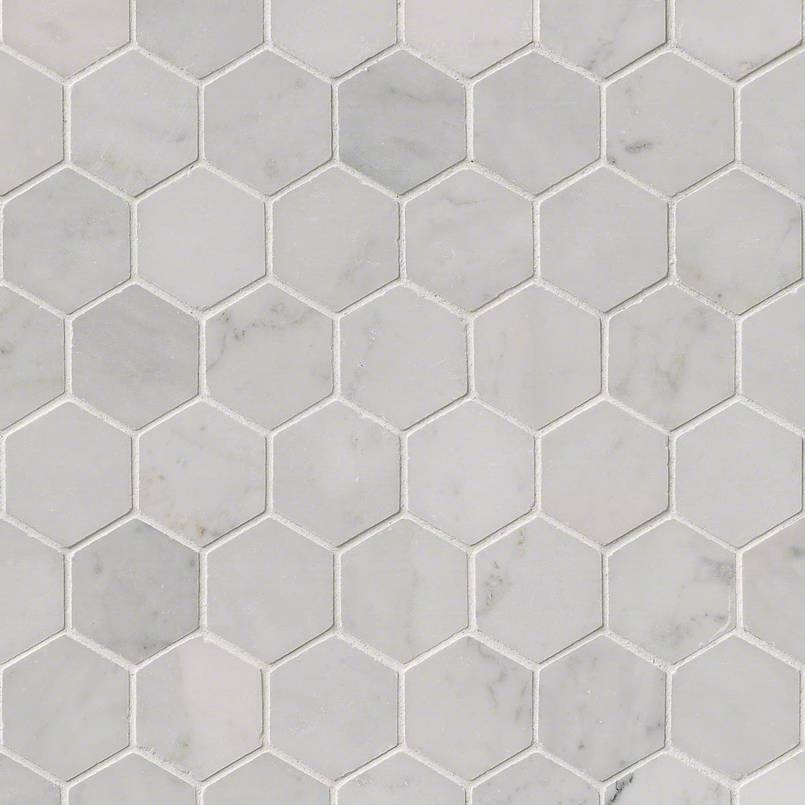 carrara white 2 hexagon polished mosaics