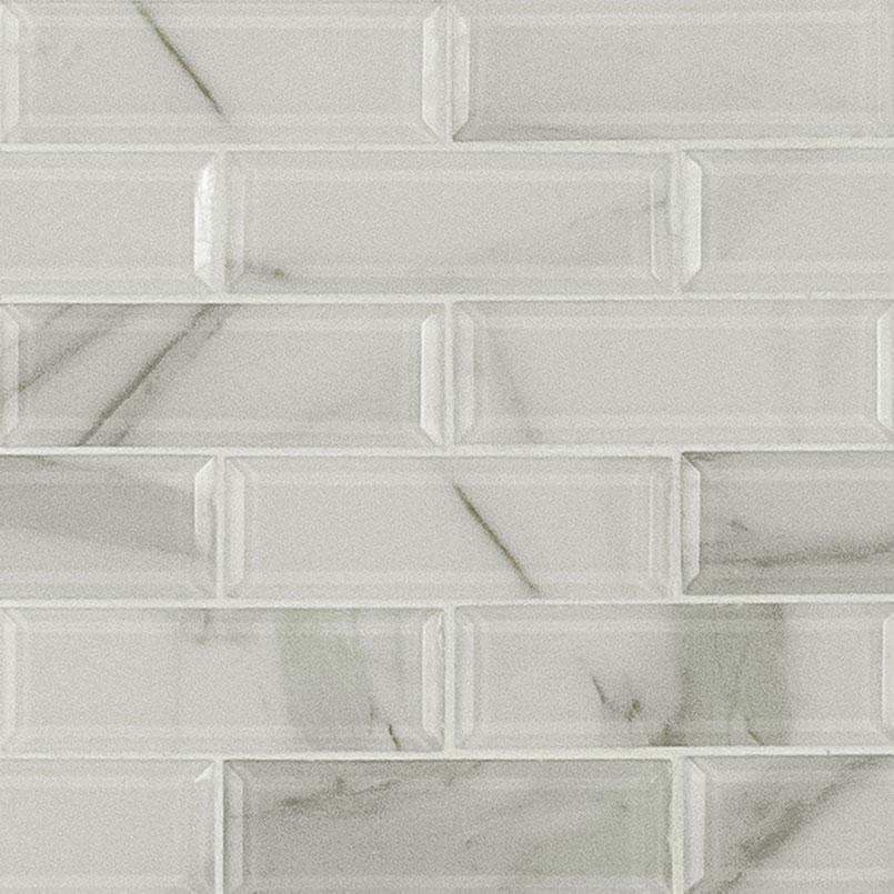 beveled tile backsplash