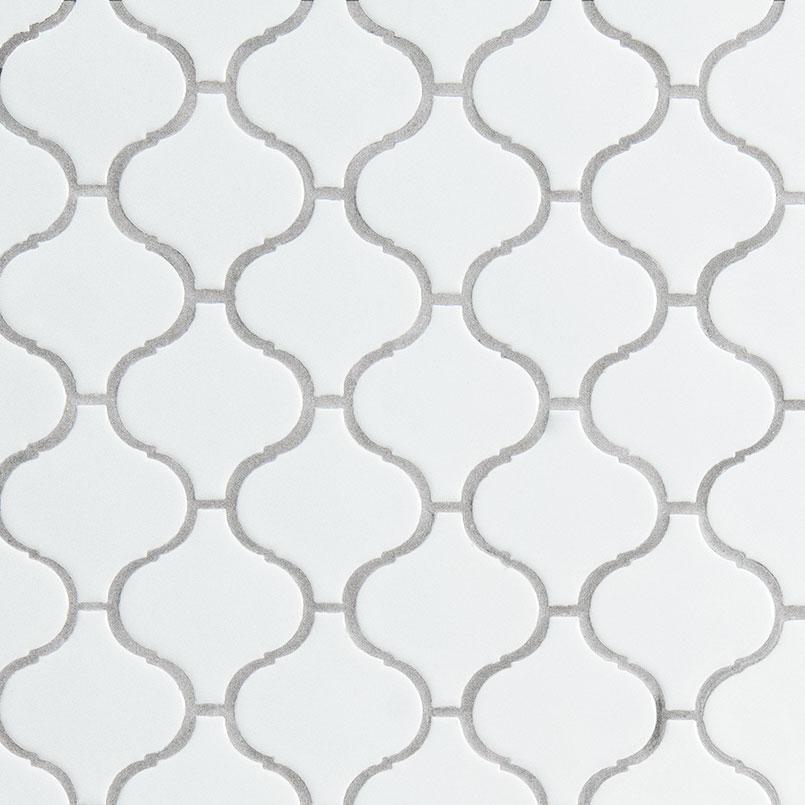 white glossy arabesque tile