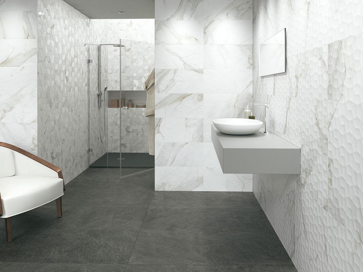 adella calacatta 12x24 satin ceramic tile