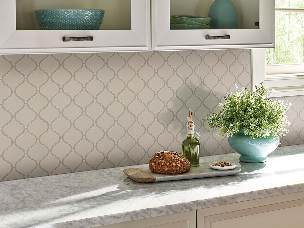 almond glossy arabesque mosaic tile