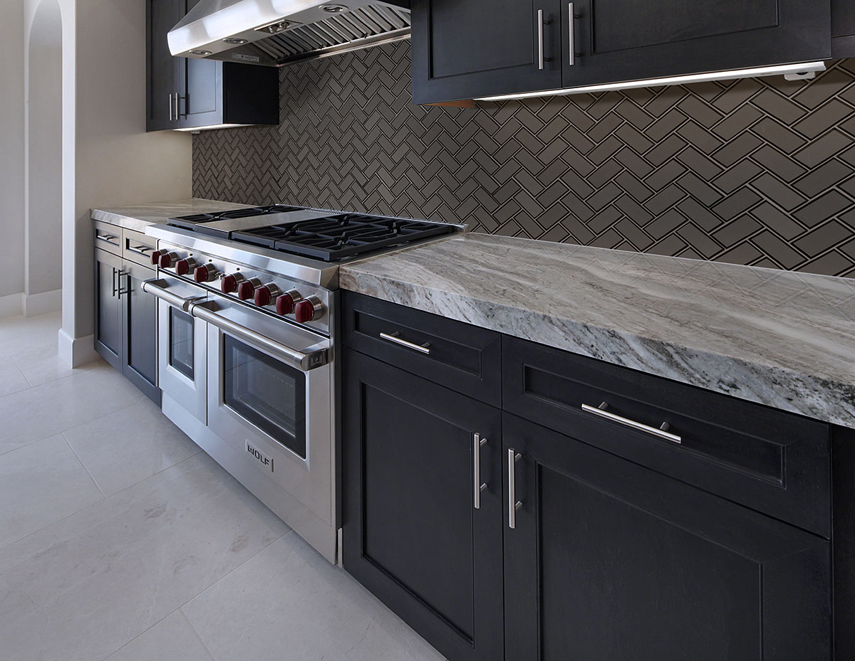 metallic gray herringbone 8mm backsplash tile