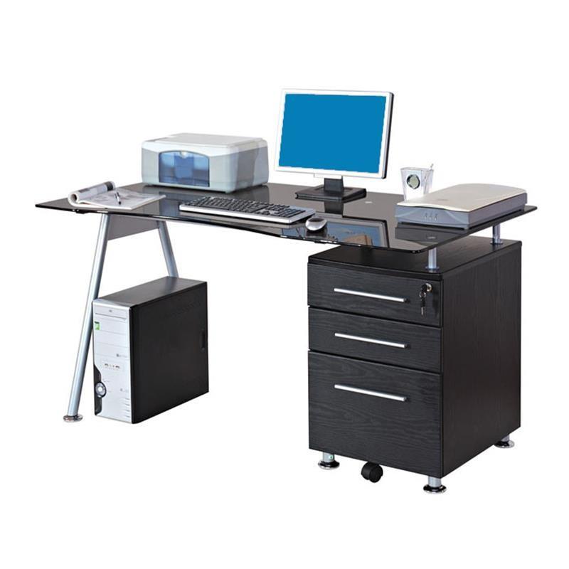 Bureau Informatique Design Avec Plateau En Verre Et