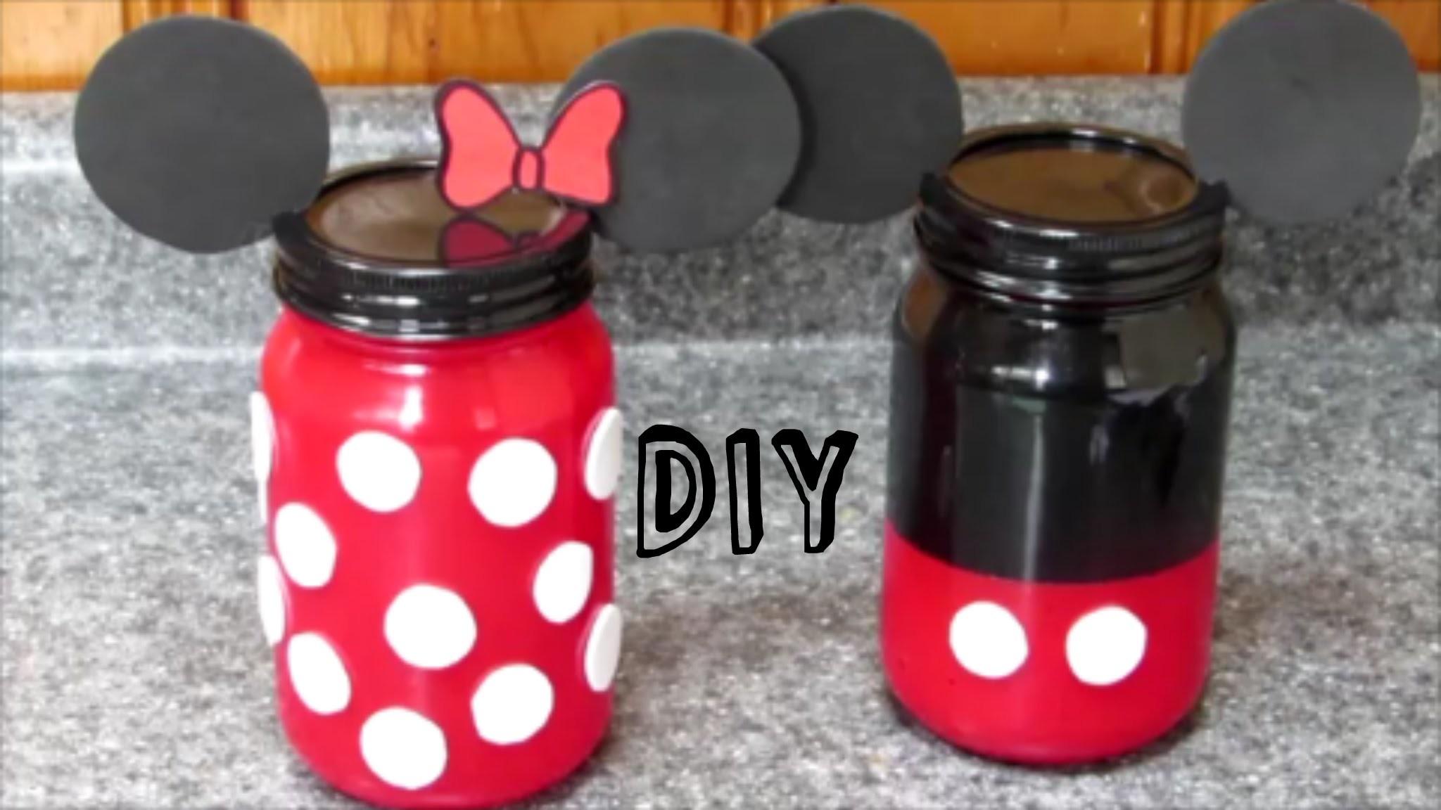 DIY Minnie Y Mickey Mouse FRASCOS DE VIDRIO De Minnie Y