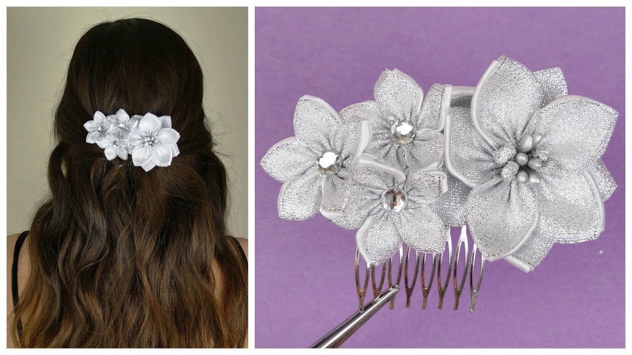 Kanzashi How To Make Kanzashi Hair BowDiy Ribbon Bow