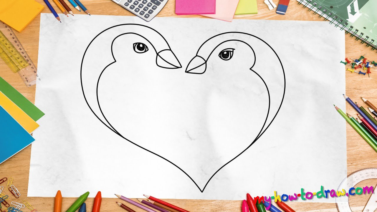 I in this step by step tutorial, you will come to how to draw a strawberry for kids in no time. How to draw a Penguin Love Heart - Easy step-by-step ...