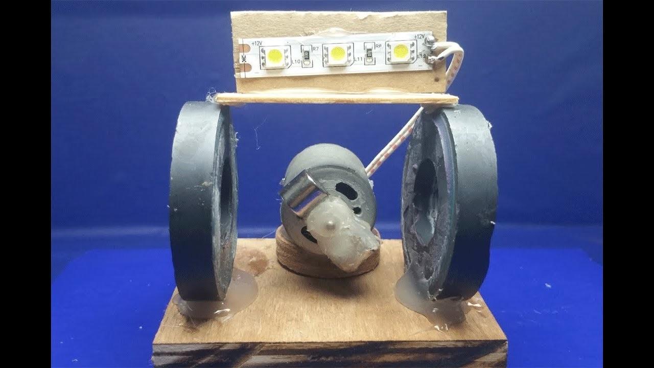 Free energy generator light Bulbs using Motor with Magnet