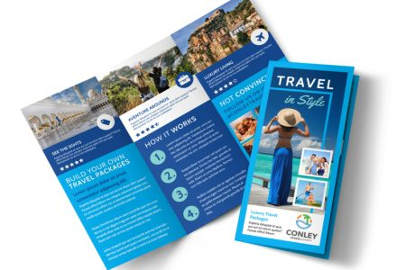 Online Brochure Maker   MyCreativeShop Awesome Travel Agents Tri Fold Brochure Template