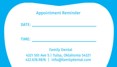Dental accounts can't turn off appointment reminders. Family Dental Reminder Card Template Mycreativeshop