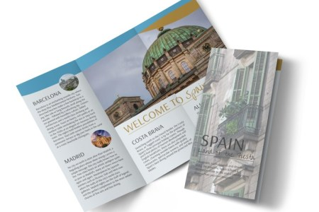 Spain Travel Tri Fold Brochure Template   MyCreativeShop Spain Travel Tri Fold Brochure Template