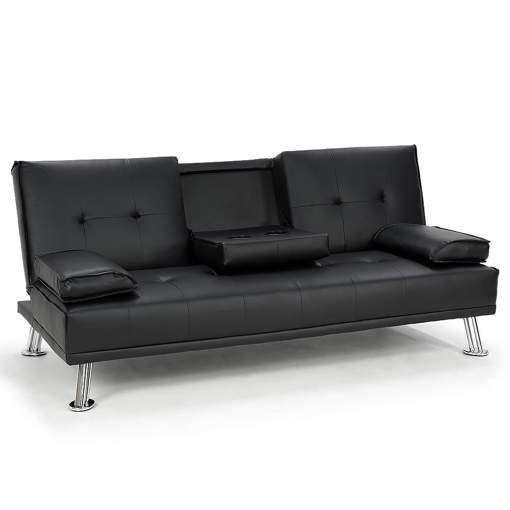 Rochester Faux Leather Sofa Bed Lounge Couch Futon Furniture Suite Black Buy Sofa Beds 0706502836108