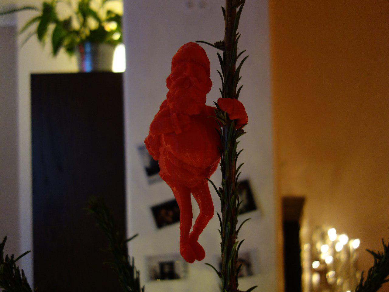 3d Printable Santa Tree Hugger Ornament Christmas