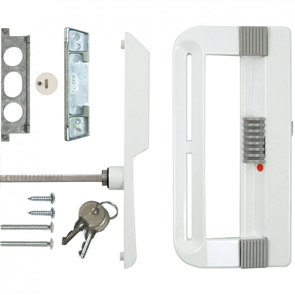 patio door handle set with keyed lock white ideal security inc
