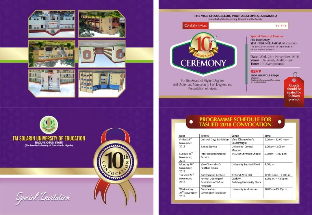 TASUED Convocation Programme of Events