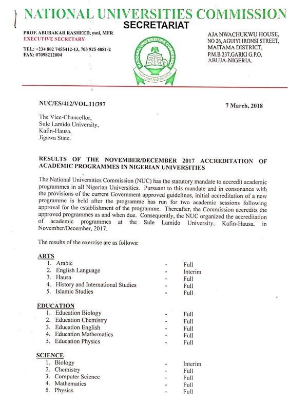Sule Lamido University Gets NUC Accreditation for 15 Programmes