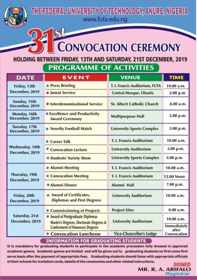FUTA 31st Convocation Ceremony