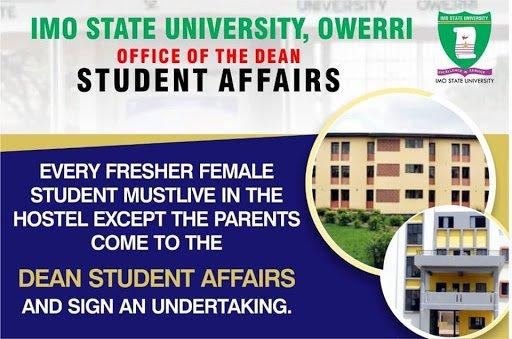 Imo State University (IMSU) Makes Hostel Compulsory for 2019 2020 Newly Admitted Female Students