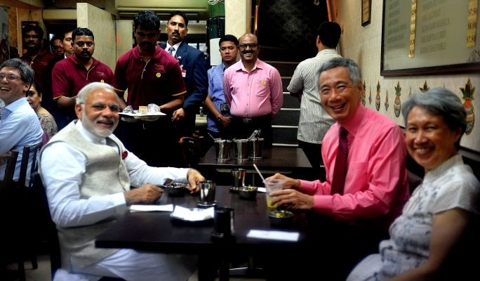 Image result for Hsien Loong and Modi