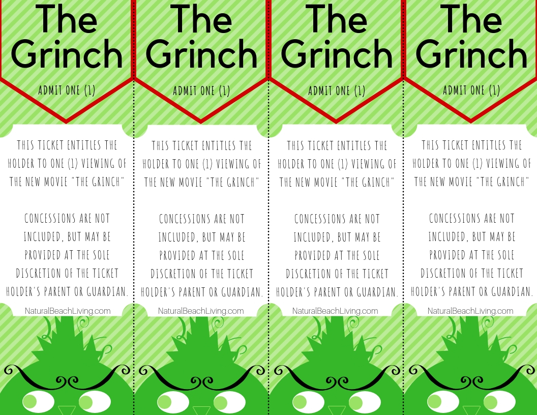 Free Grinch Printable Activities Movie Tickets