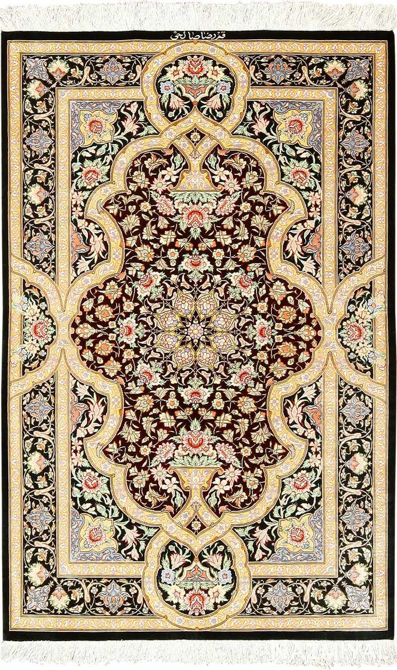 Brown Background Fine Silk Persian Qum Rug 49408 By Nazmiyal