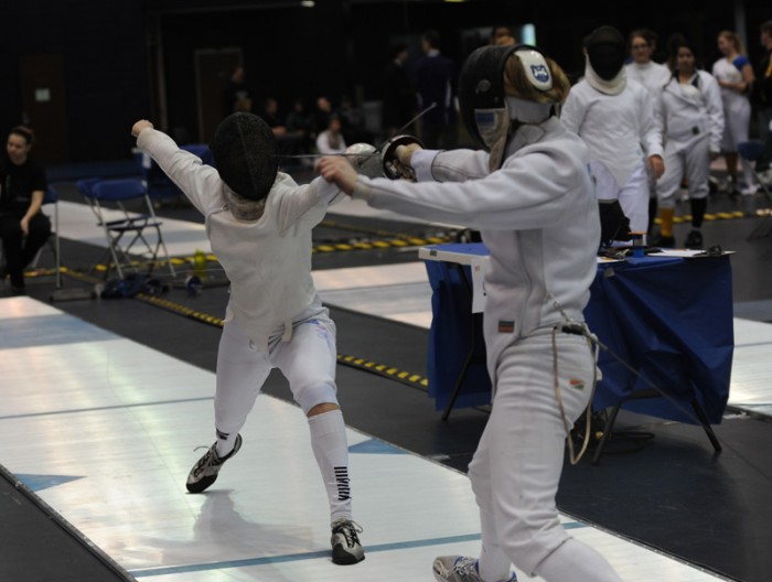 Junior Ashley Severson fences in the women's epee at the Midwest Conference Championships on Mar. 2 at Notre Dame. Severson tied for third in the same event at the North American Cup on Sunday.