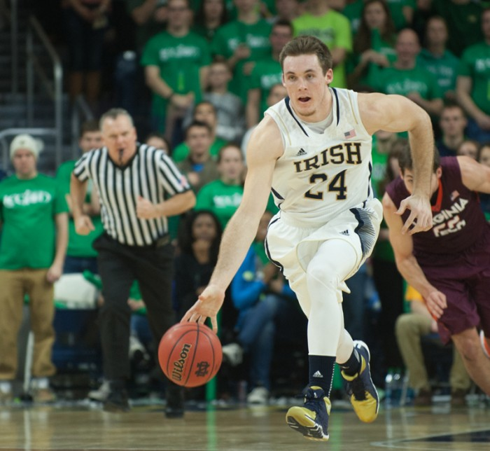 Irish junior guard/forward Pat Connaughton leads the break during Notre Dame's 70-63 victory over Virginia Tech. Connaughton finished the game with 21 points and eight rebounds, while averaging 14.1 points per game and 7.3 rebounds per game this season.