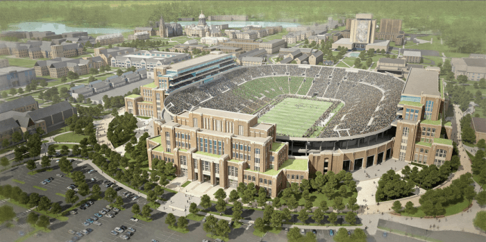 The University announced plans to build three integrated additions to the Stadium as early as winter of 2014.