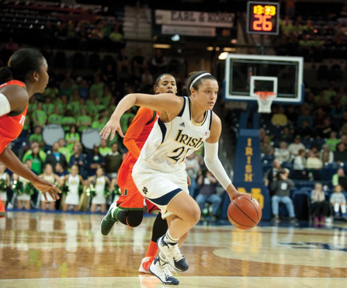 Senior guard Kayla McBride handles the ball during Notre Dame's 79-52 victory Jan. 23 against Miami. Thursday, McBride had 18 points and converted all eight of her free throw attempts.